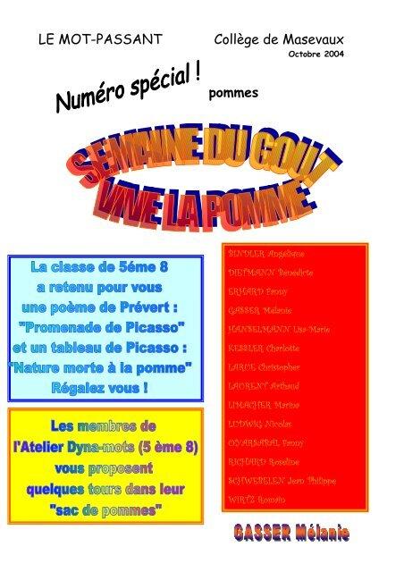 Mot Passant Spécial Pommes Collège De Masevaux