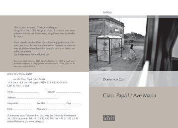 Dépliant: Domenico Carli, Ciao, Papà / Ave Maria - Editions d'En bas