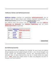 Reflexive Verben und Reflexivpronomen Reflexive Verben ...