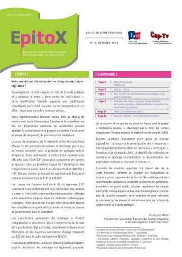 Bulletin Epitox. n°4 - Octobre 2012 - Institut de veille sanitaire