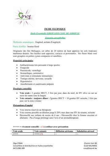 FICHE TECHNIQUE Huile Essentielle GIROFLIER ... - COZY Belgique