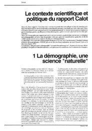 Le contexte scientifique et politique chu rapport Calot 1 La ...