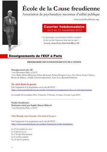 Courrier hebdomadaire du 5 au 11 novembre 2012 - École de la ...