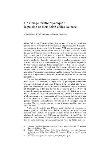 la pulsion de mort selon Gilles Deleuze - CRHT - Université Paris ...