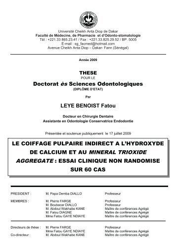 Le Coiffage pulpaire indirect à l'hydroxyde de calcium et au ... - SIST