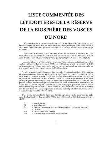 Les Lépidoptères - Parc naturel régional des Vosges du Nord
