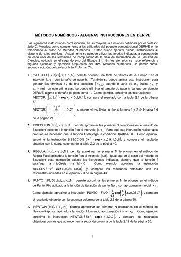 1 MÉTODOS NUMÉRICOS - ALGUNAS INSTRUCCIONES EN ...