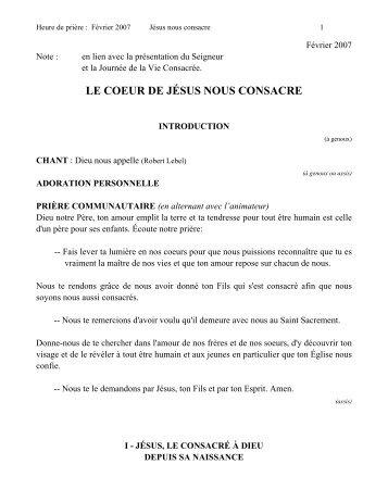 LE COEUR DE JÉSUS NOUS CONSACRE - Frères du Sacré-Cœur