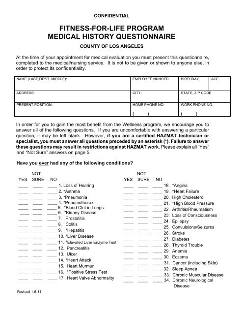 fitness for life program medical history questionnaire