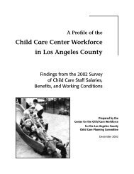 A Profile of the Child Care Center Workforce in Los Angeles County