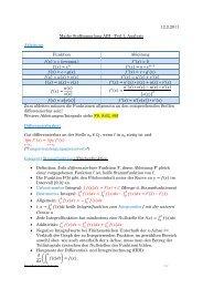 12.2.2011 Mathe Stoffsammlung ABI - Teil 1: Analysis Ableitung ...