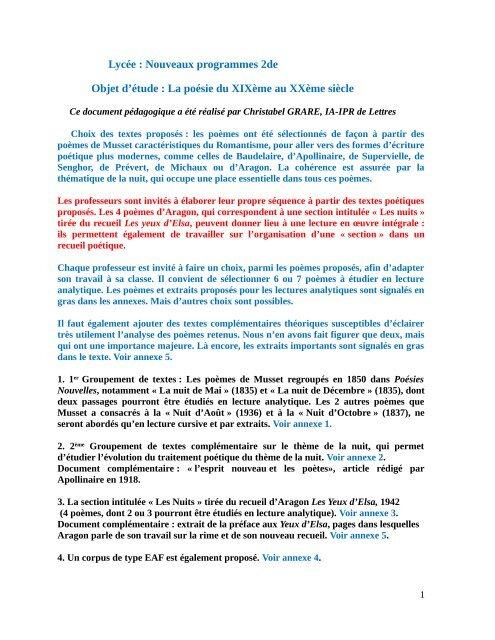 Lycée Nouveaux Programmes 2de Objet Détude La Poésie Du