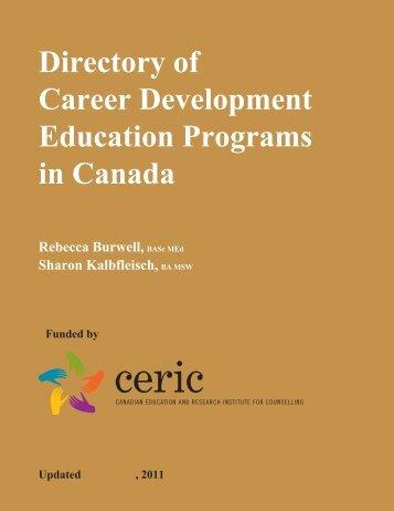 Directory of Career Development Education Programs in ... - ceric