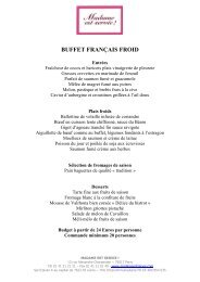 buffet français froid - Madame est Servie
