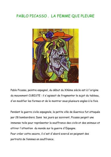 Pablo Picasso La Femme Qui Pleure La Dictee Fr