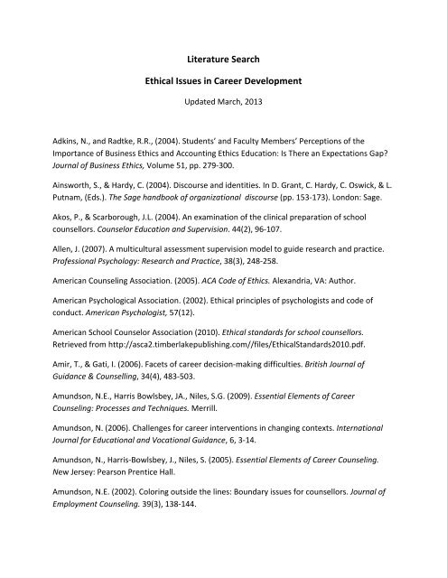 Literature Search Ethical Issues In Career Development Ceric