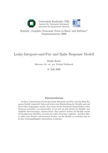 Leaky-Integrate-and-Fire und Spike Response Modell - CES