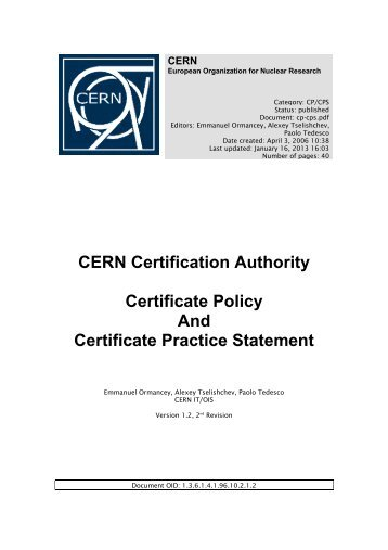 CP/CPS document v2 (PDF) - CERN Certification Authority