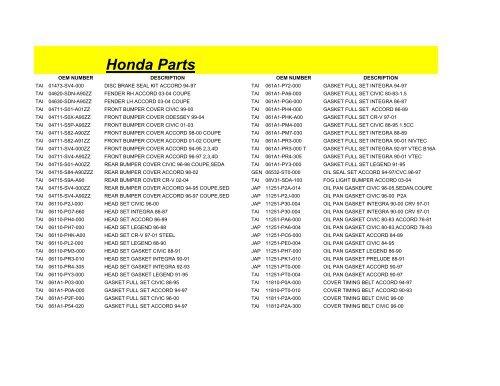 Genuine Honda Parts 34300-SH3-A05 Honda Civic Front Right Side Marker Light