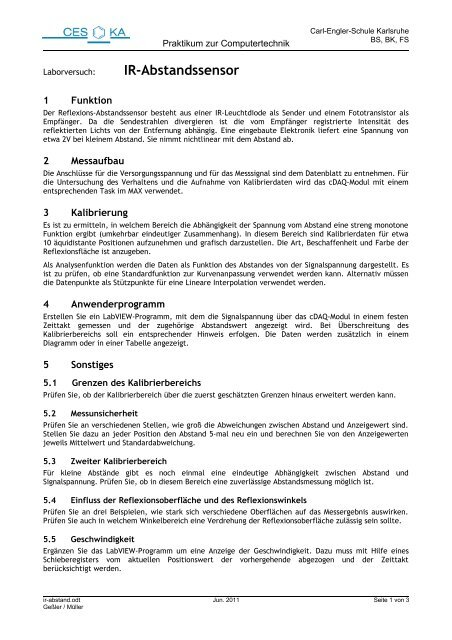 IR-Abstandssensor - Carl-Engler-Schule - Karlsruhe