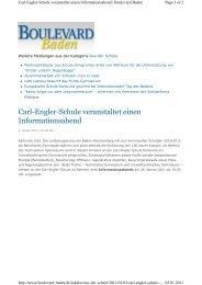 Carl-Engler-Schule veranstaltet einen Informationsabend