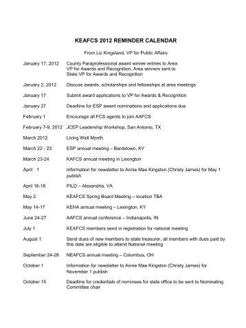 KEAFCS 2012 REMINDER CALENDAR