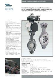 Diagramme P/T (HiLok RTFE et FS) - Pentair Valves & Controls