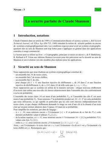 La securite parfaite de Claude Shannon - ACrypTA