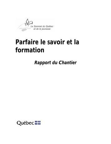 Parfaire le savoir et la formation - Gouvernement du Québec