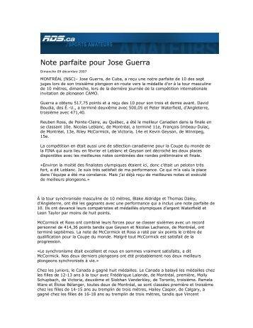 Note parfaite pour Jose Guerra - Championnat international Camo ...