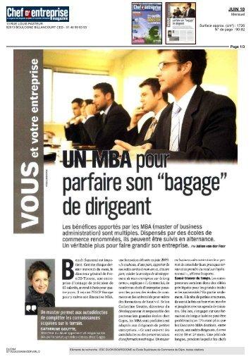 """parfaire son """"bagage"""" de dirigeant - Groupe ESC Dijon Bourgogne"""