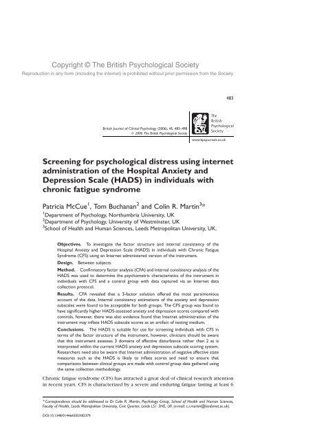 Screening for psychological distress using internet administration