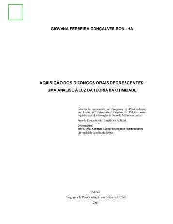 aquisição dos ditongos orais decrescentes - Universidade Católica ...