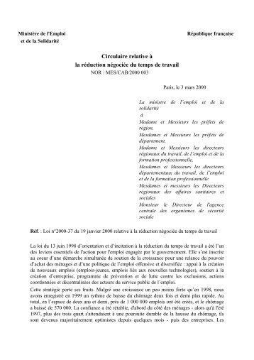 Circulaire relative à la réduction négociée du temps de ... - TRiPALiUM