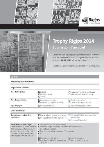Trophy Rigips 2014 Soumission d'un objet