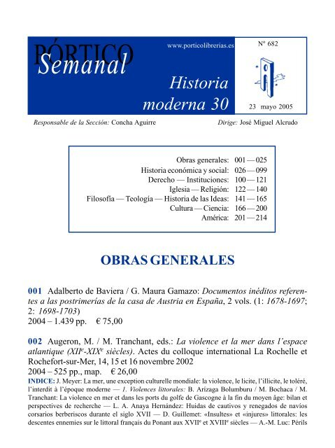 Portico Semanal 682 Historia Moderna 30 Pórtico Librerías