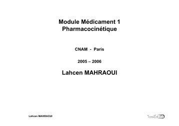 Module Médicament 1 Pharmacocinétique Lahcen ... - Canalblog