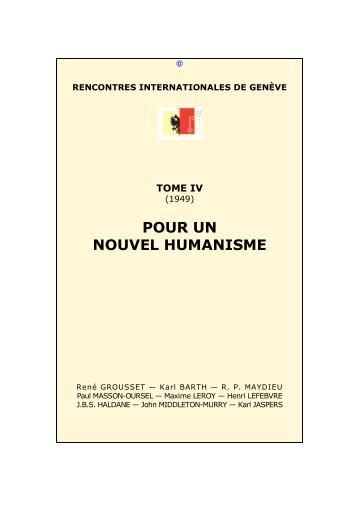 Pour un nouvel humanisme - Rencontres Internationales de Genève