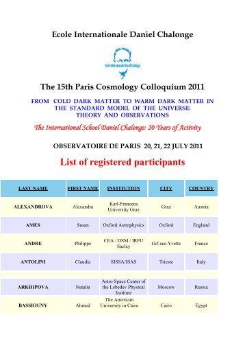 List of registered participants - Chalonge School - Observatoire de ...