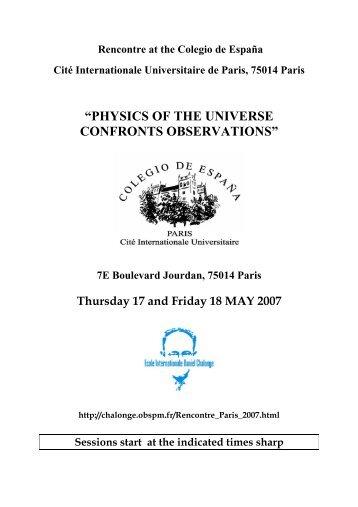physics of the universe confronts observations - Observatoire de Paris