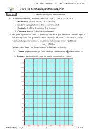 TD n°2 : la fonction logarithme népérien