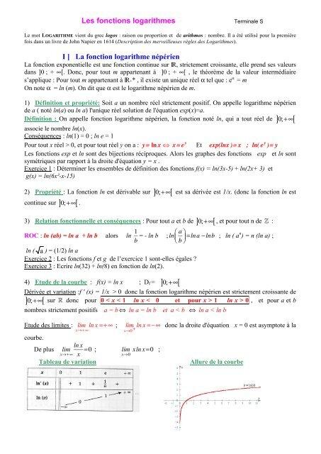 Les fonctions logarithmes I ] La fonction logarithme népérien