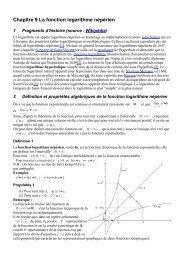 Chapitre 9 La fonction logarithme népérien