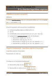 (Terminale ES) → La fonction logarithme népérien - PanaMaths