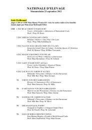 Résultats Nationale d'Elevage 2012 - RALIE