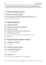I La fonction logarithme népérien II Propriétés ... - TREMULOTMaths