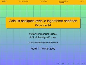 Calculs basiques avec le logarithme népérien - Calcul mental