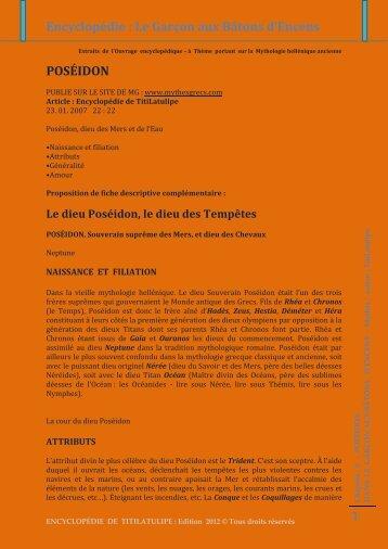 Encyclopédie : Le Garçon aux Bâtons d'Encens 1 POSÉIDON