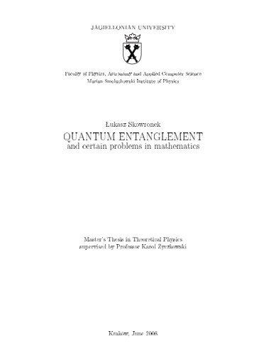 QUANTUM ENTANGLEMENT - Theoretical Group Atomic Optics ...