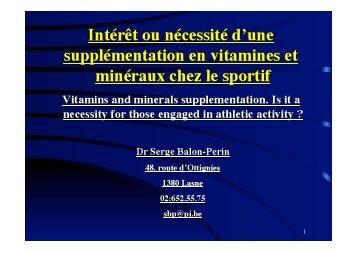 Intérêt ou nécessité d'une supplémentation en vitamines et ...